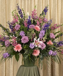 A beautiful soft pastel display custom designed to grace the service, 24