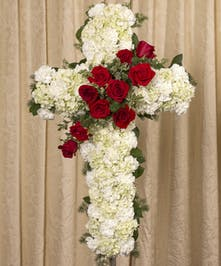 Part of our Rest in Peace grouping, red and white garden flowers create the perfect atmosphere to rest in peace.
