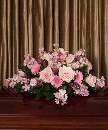 When words are not enough, pink roses on a small casket spray, 20