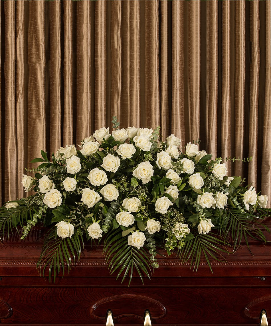 WHITE ROSE CASKET - Flower Products,Boyds Flower Connection.Flower ...