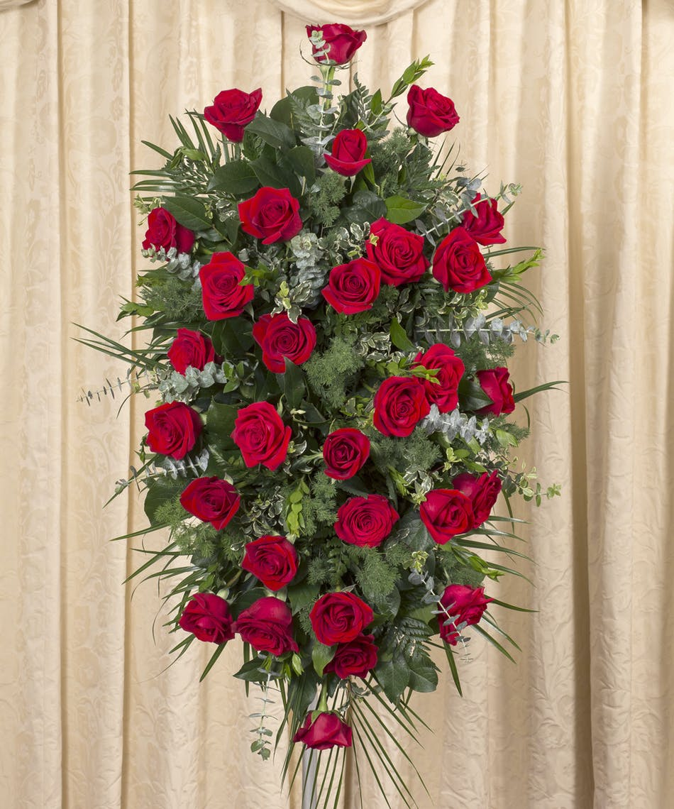 Red rose easle a beautiful display of red equadorian roses custom designed on four foot stand izmirmasajfo