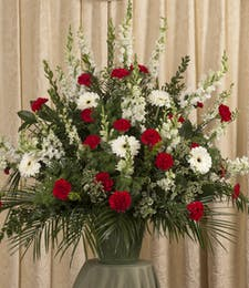 RED & WHITE FLOOR URN