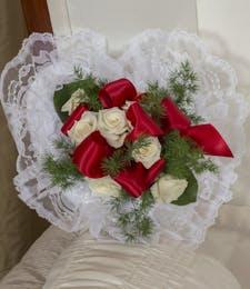 RED & WHITE SATIN PILLOW