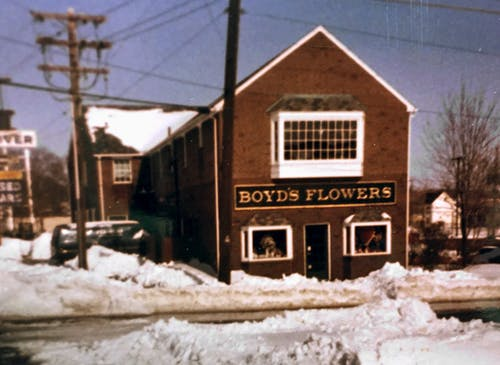 A decades-old glimpse at our original location, blanketed by snow